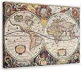 Gaowenytt Cartel de la Lona del Mapa del Mundo del Siglo XVII, decoración del Arte de la Pared, Cuadros Impresos para la decoración del Dormitorio de la Sala de Estar, 60x90CM sin Marco