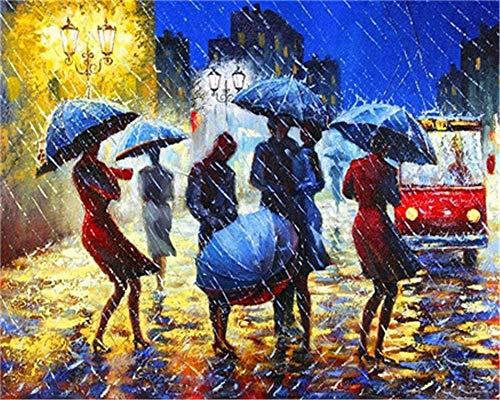 JCILZX Malen nach Zahlen Kits DIY Leinwand Farbe für Erwachsene Kinder Anfänger-Menschen mit Regenschirmen Zeichnen mit Pinseln Weihnachtsdekor Dekorationen Geschenke-16x20 Zoll(kein Rahmen)