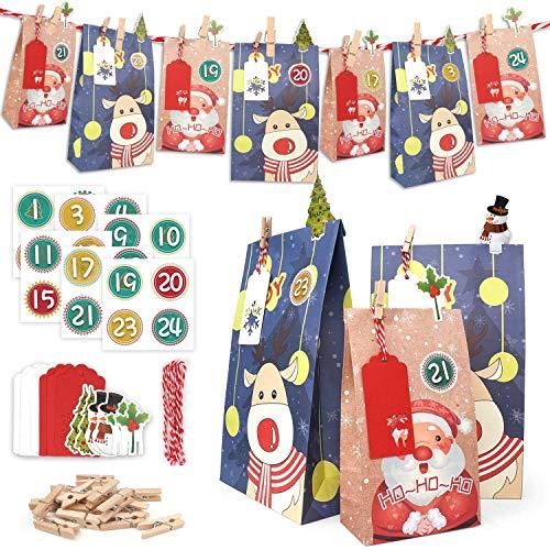ONEHAUS Adventskalender zum befüllen groß, Geschenk Papiertueten Zum Selber Befüllen Basteln Pinguin Advents Tüten, selbstgemachter kleinigkeiten für adventskalender Inhalt Kinder selberfüllen