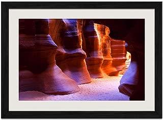 Horseshoe-Shape Rocks - Art Print Wall Black Wood Grain Framed Picture(20x14inches)
