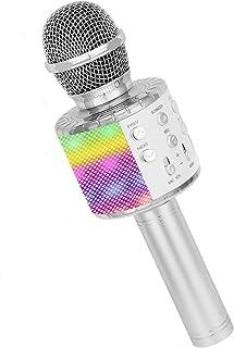 Karaoke Microphone, Wireless 4 in 1 Handheld Bluetooth Microphone with LED Lights, Portable Smartphone Speaker Boys Girls ...