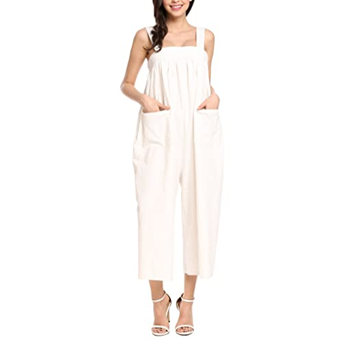0b9ef3c1b45 Zeagoo Women s Casual Strap Overalls Loose Wide Leg Jumpsuits Rompers with  Back Bowknot