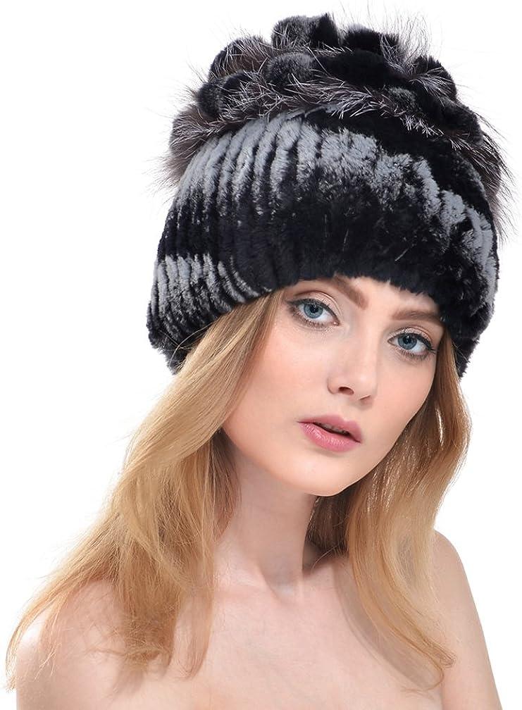 OLLEBOBO Women's Fashionable Genuine Rabbit Fur Knitted Hat Winter