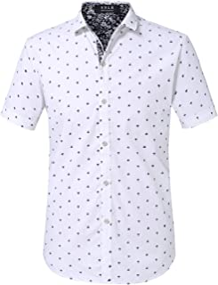 Men's Printed Regular-Fit 100% Cotton Short Sleeve Casual Shirts