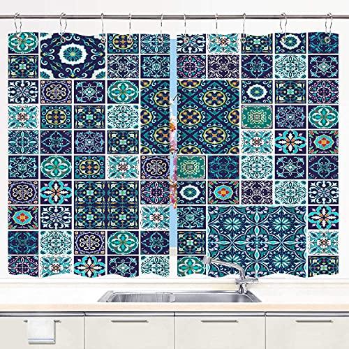 Cortina de Cocina Judascepeda ,Mosaico Tradicional Azulejo Cultura Portugues, Juego de Paneles de Tratamiento de Ventanas Cortinas Ganchos de Metal incluidos Juego de 2 Paneles de 55x39 Pulgadas