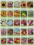 25 Flower Seed Packets Including 10+ Varieties - May Include: Forget Me Nots, Pinks, Marigolds, Zinnia, Wildflower, Poppy, Snapdragon and More - Made in the USA