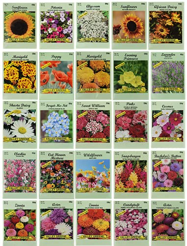 25 Slightly Assorted Flower Seed Packets -...