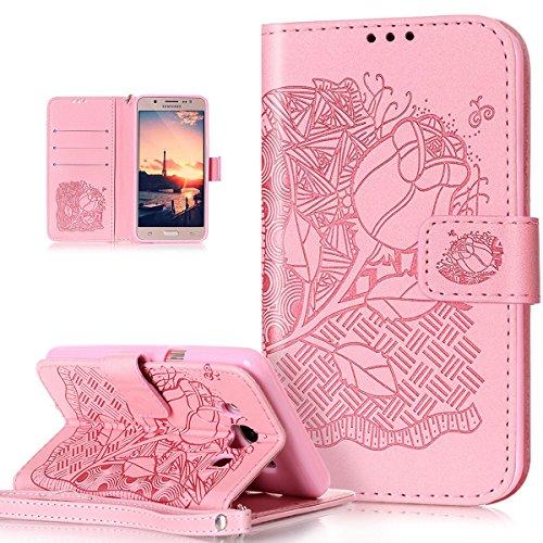 ikasus Coque Galaxy J5 2016 Etui Motif Gaufrée Fleurs roses Etui Housse Cuir PU Portefeuille Folio Flip Case Cover Wallet Carte de crédit Case Coque Housse Etui pour Galaxy J5 2016,roses