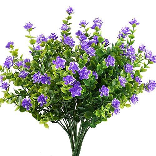 Houda – 4 branches d'eucalyptus artificielles fleuries, décoration d'intérieur ou d'extérieur