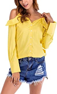Yeirui Women's Solid Color Cold Shoulder Tops V Neck Button Down Long Sleeve Blouse Shirts