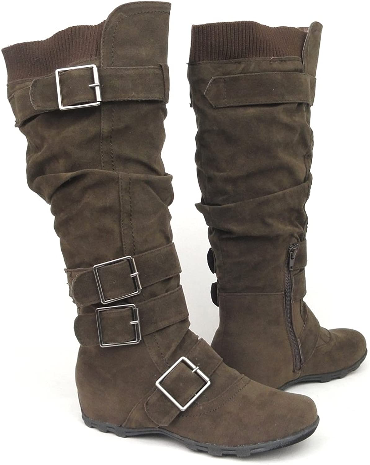 Womens Knee High Faux Suede Flat Winter Buckle Boots Dark Brown, 5.5-10
