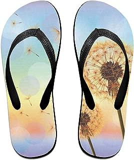 Flip Flops Carpet Flowers Flying Dandelion in The Wind Women's Outdoor Slippers Top Sandals for Unisex
