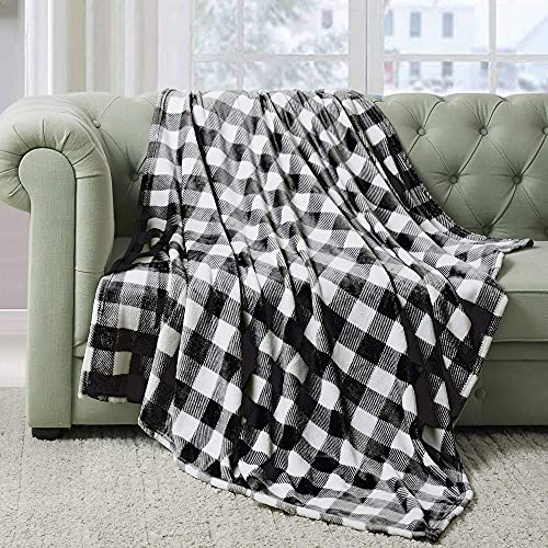 BEDELITE Fleece Blankets Black and White Buffalo Plaid Twin Size Blankets for Couch & Bed, Plush Microfiber Fuzzy Checkered Blanket, Super Soft & Warm Lightweight Throw Blankets for Spring and Summer
