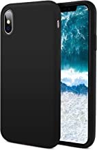 iPhone Xs Max Silicone Case, [Support Wireless Charging] Drop Shockproof Full Body Protection Matte Case Gel Rubber Silicone Phone Case with Soft Cushion for Apple iPhone Xs Max 2018 6.5 inch - Black