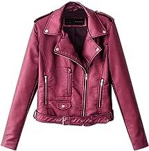 Sanyyanlsy Ladies Fashion Lapel Rivet Motor Leather Jacket Winter Long Sleeves Zip Punk Biker Short Crop Tops for Women