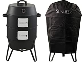 SUNLIFER Vertical Charcoal Smoker, BBQ Grill for Smoking Outdoor Cooking Camping 19.5 Inch