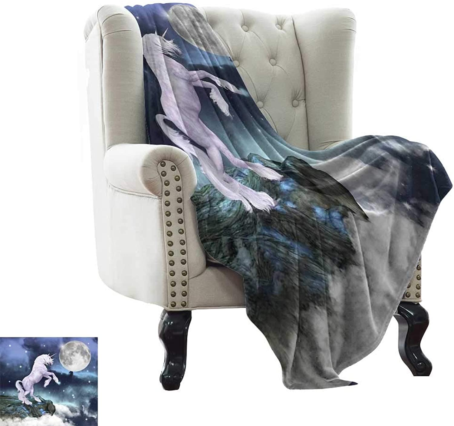 Baby Blanket Yarn Unicorn,Legendary Creature Up Cliffs Rocks in Full Moonlight Sky Fantasy Design Artprint,purplec bluee Weighted Blanket for Adults Kids, Better Deeper Sleep 35 x60