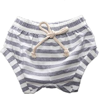 WINZIK Baby Kids Pants Striped Elastic Waist Shorts Bloomers Boys Girls Toddler Summer Outfits Casual Beachwear Pants