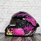BUETR Casco de motocross casco completo batería coche casco modular bicicleta de montaña casco de seguridad-M_Pink Joker