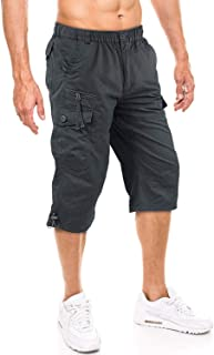 TACVASEN Men's 100% Cotton Casual Military Elastic Capri Cargo Shorts with Multi Pockets