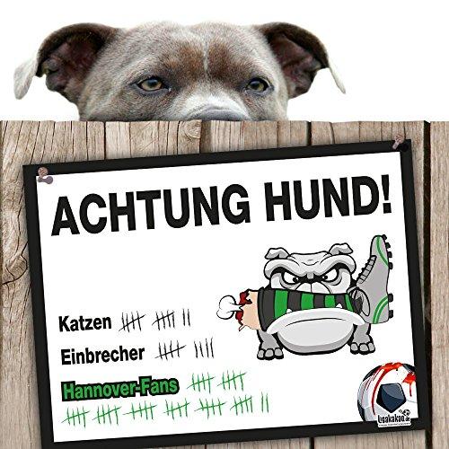 Hunde-Warnschild Schutz vor Hannover-Fans | Braunschweig-, Wolfsburg- & alle Fußball-Fans, Dieser Revier-Markierer schützt Haus & Hof vor Hannover-Fans | Achtung Vorsicht Hund Bissig