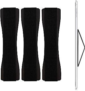 kwmobile 3x タブレット フィンガーホルダー 落下防止 片手 - ゴムバンド Tablet PC 操作 バンド グリップ - 対応: ipad Samsung Huawei などに - ブラック