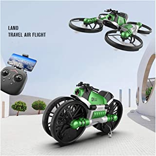 2-In-1 Folding WIFI FPV Drone and Motorcycle Vehicle Multi-Function, One Key Take Off and Landing Headless mode Drone (Green)