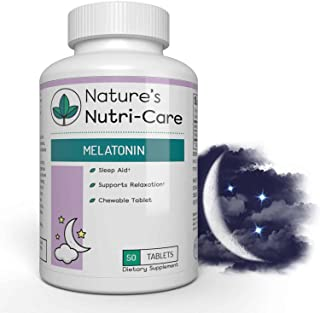 Nature's Nutri-Care Melatonin Chewable Sleep Aid - 3mg - 50 Tablets - Improve Sleep Quality and Jet Lag - Made in USA, 50