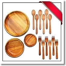 Innovatronix Handmade Wooden Acacia Salad Bowl Set - 1 Piece Calabash Bowls (4