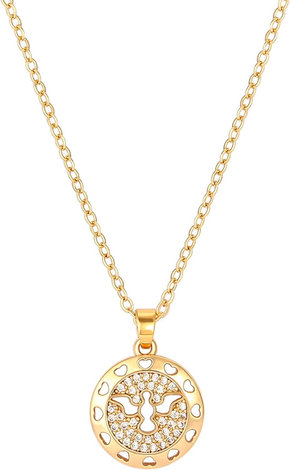 18K Gold Evil Eye Sanskrit Symbol Om Pendant Necklace Dainty Lion Medallion Necklaces Bird Eagle Round Disc Pendant Necklaces for Women Satellite Beaded Chain Lucky Charm Necklace Jewelry