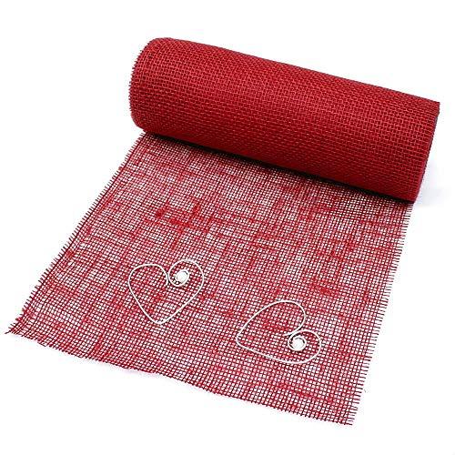 TGG jute tafelband Div. kleuren, 30 cm breed - 10 meter, karmijnrood