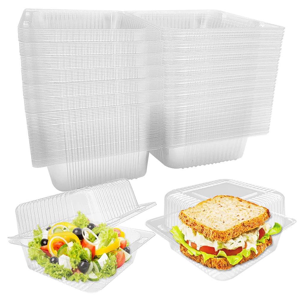 100Pcs Clear Plastic Take Out Containers,Square Hinged Food Container,Disposable Clamshell Dessert Trays Holders Boxes for Cake,Salad,Sandwiches,Hamburger,Pasta,Chips,5 x 4.7 x 2.8 Inch