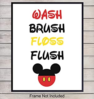 Mickey Mouse Bathroom Art Print - Typography Wall Art Poster - Unique Home Decor for Kids, Childs, Toddlers Bath - Gift for Mom, Baby, Disneyland and Disney World fans - 8x10 Photo Unframed