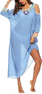 Womens Loose Fit Half Sleeve Bikini Swimsuit Cover Up Flowy Long Beach Dress with Tassel