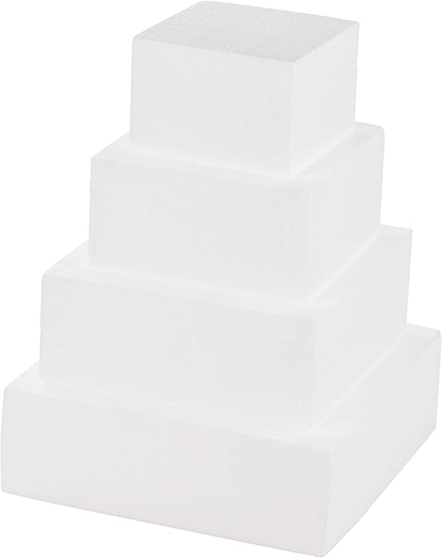 Juvale Square Cake Dummy 4 Piece Polystyrene Foam Dummy Cake Fake Foam Wedding Cake For Wedding Display Window Decorating Competition 6 8 10 12 Inches Square Total 16 Inches Tall