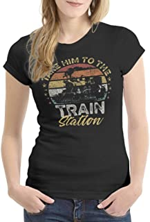 HYPOWELL Take Him to The Train Station Funny Train Shirt Short Sleeve T-Shirt for Women