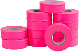 AdirPro 12 Pack Fluorescent Flagging Tape, 150' X 1'' Wide - Multipurpose Neon Marking Tape - Great Visual Labeling & Tagging for Home & Workplace Use (Fluorescent Pink)