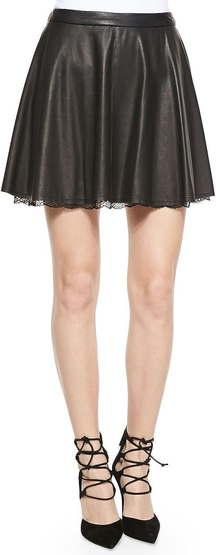 Alice & Olivia Blaise Leather Trapeze Skirt Lace Hem 12