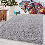 BPIL Shaggy Rugs Soft plain Thick Pile Large Small Antiskid Area Rug (Silver, 160X230CM)