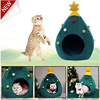 Cat Beds for Indoor Cats,House Semi-Closed Christmas Warm Soft Winter Pet Cat Cave Bed Shape Tree Pet Nest
