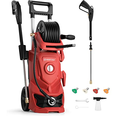 eastvolt 2175 PSI Electric High Pressure Washer, 2.4GPM Power Washer Machine 1800W High Pressure Cleaner with 4 Interchangeable Nozzle, Hose Reel and Brush for Cars/Garden/Deck Cleaning, EVHPW01, Red