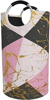 Panier à linge rond, marbre liquide Panier à linge géométrique doré Seau Sac à vêtements pliant Poubelles de 82 L pour org...