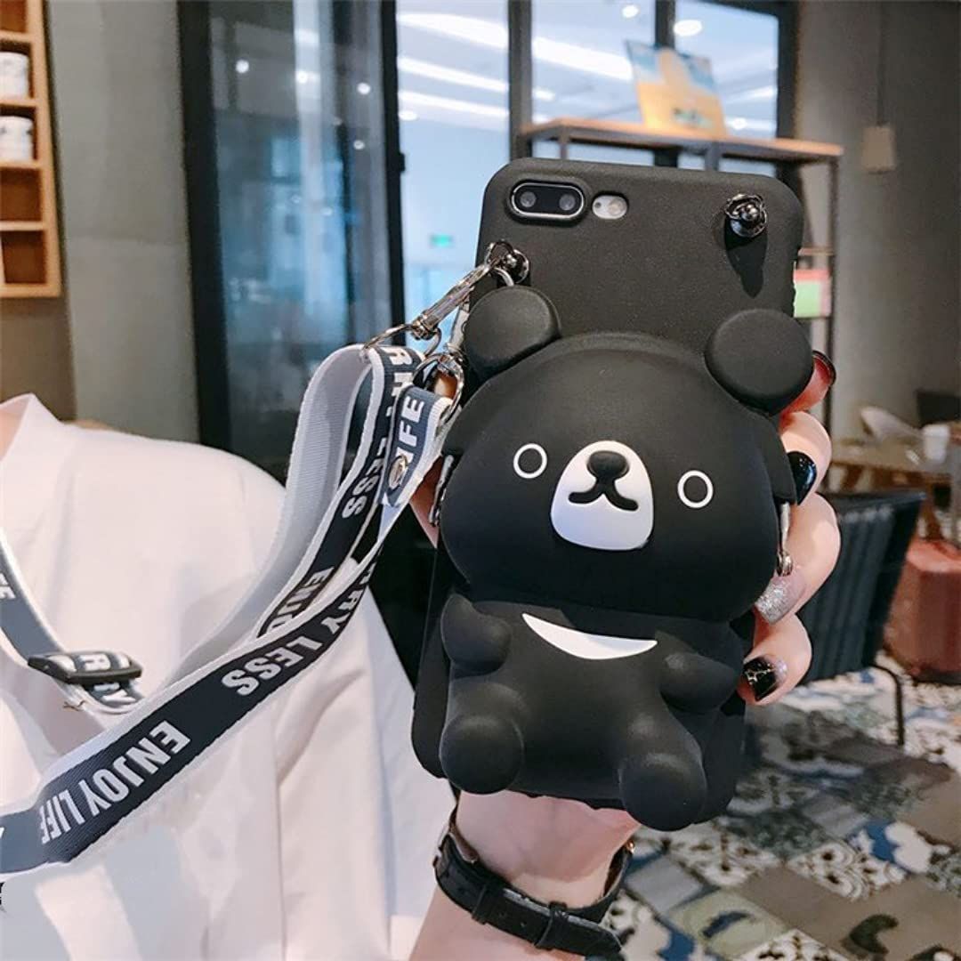ISYSUII Kickstand Case for Samsung Galaxy Note 9 Cartoon 3D Bear Silicone Protective Phone Case for Teens Girls Soft Silicone Shockproof Cover with Card Holder Crossbody Adjustable Strap,Black