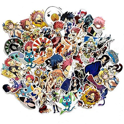 SGOT Jojos Aufkleber, One Piece Stickers, Wasserdicht Vinyl Demon Slayer Stickers, Anime Decals für Auto Motorräder Gepäck Skateboard Laptop Aufkleber(60 Stück Fairy Tail)