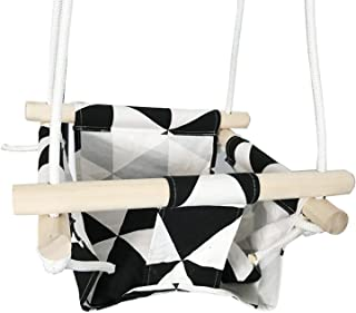 JIA-WALK Swing Hammock Seat Set Canvas Hanging Chair with Cushion Outdoor Indoor Garden Wooden Swing Rocker Load Bearing 50 Kg