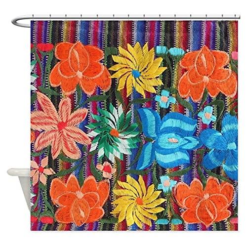 Cortina de Ducha Bordado de Flores mexicanas Cortinas de Ducha de Tela Decorativa Resistente al Moho Lavable con ganchos-180x180cm