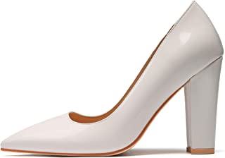 "Eldof Women's Pointed Toe Pumps 4"" Chunky Block Heels Comfort High Heel Pumps Dress Shoes White US7"
