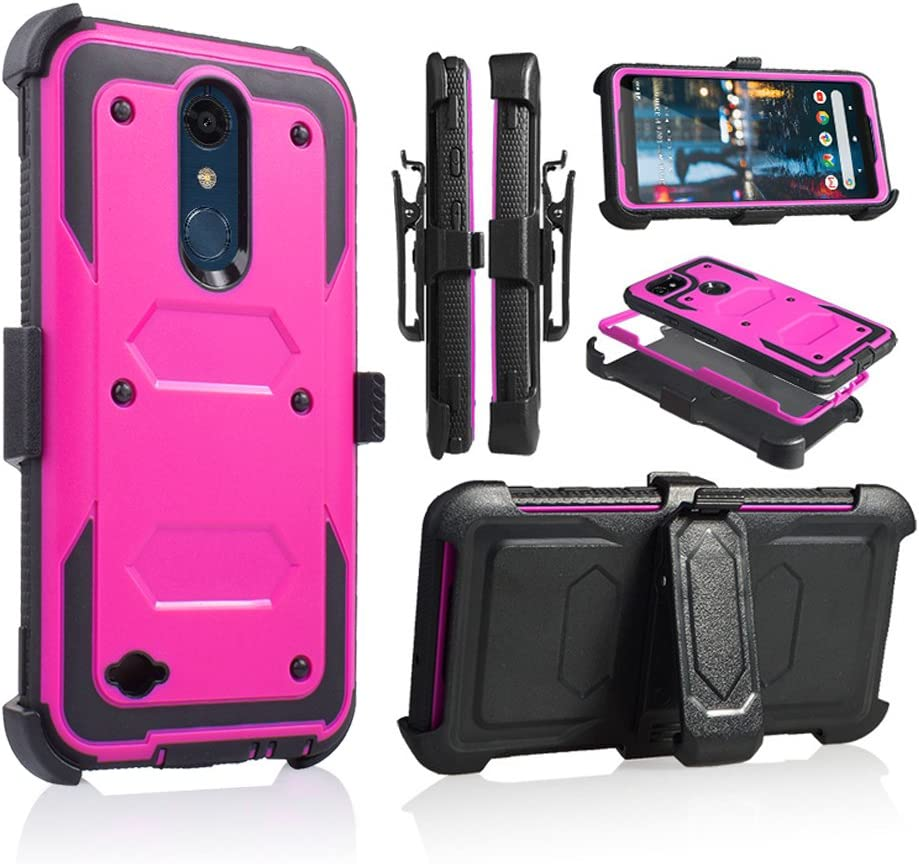 for 5.3 Inch LG K30 Case,LG Premier Pro LTE Case, LG Phoenix Plus Phone Case Cover with Screen Protector Clip Holster Kickstand Grip Sides Shock Bumper Armor (Pink Purple)