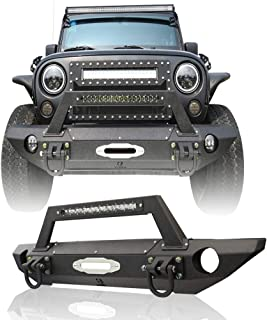 Hunter Jeep Wrangler Black Textured Front Bumper for 07-18 Jeep Wrangler JK Unlimited with Winch and Winch Cover and Original Strip Light and High-Grade D-ring