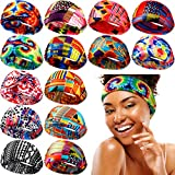 14 Pieces African Headband Women Headband Yoga Sports Headband with Strip and Floral Prints for Women Girls Hair Accessories (Classic African Patterns)